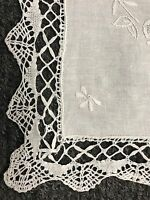 "16x36"" Embroidery Handmade White Bobbin Lace 100% Cotton Tablecloth Runner"