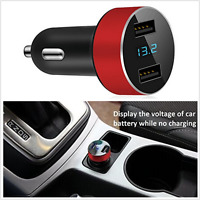 DC 5V 3.1A Dual USB Car Fast Charging Adapter Voltage Tester For iPhone Samsung!