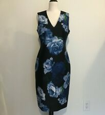 New listing CALVIN KLEIN - SCUBA NEOPRENE DRESS - FLORAL - BLACK & BLUE ROSES - SIZE 8 - NEW