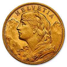Random Date Switzerland Helvetia Swiss Gold 20 Francs .1867 Troy Oz AGW SKU28806