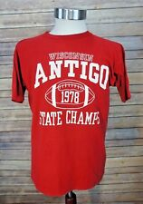Vintage 1978 Champion Blue Bar Tag Antigo Wisconsin State Football Champ T-Shirt