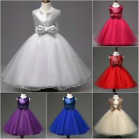 New Cute Sequin Princess Wedding Girls Dress Tulle Bridesmaid Party Kids Clothes