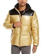 Alfani Men Jacket Black Gold Large L Dylan Hooded Zip Colorblock Puffer $139 003