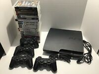Sony PlayStation 3 PS3 Slim CECH-3001B Console Bundle + 4 controllers 21 games