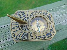 Rectangle Brass Garden Sundial & Compass Nautical Maritime Navigation Footed