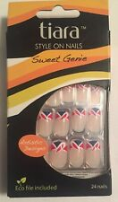 tiara Style On Nails With Eco File 24 Nails Red White Blue Patriotic