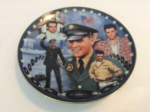 ELVIS PRESLEY RED WHITE AND GI BLUES MUSIC PLATE