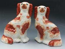 Rare Pr 19C Staffordshire Cavalier King Charles Spaniel Wally Dogs Statues