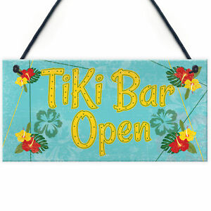 Tiki Bar Open Hanging Bar Plaque Beer Cocktail Beach Decoration Sign Friend GIFT