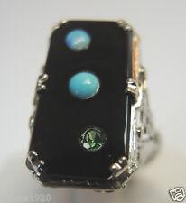Antique Onyx  Engagement Ring 18K Art Deco SZ-5.25 UK-K Vintage Filigree Estate
