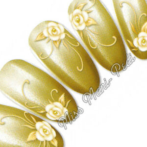 Nail Art Water Decals Nail Stickers Transfers Yellow Golden Flowers Floral H004