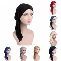 Eg _ Femme Froissage Long Turban Tête Enveloppant Chimio Bonnet Mousseline Hijab