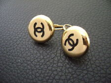 Auth Chanel Vintage Gold w/ Black CC Round Dangling Pierce Earring(96A)