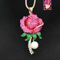 Betsey Johnson Fuchsia Crystal Pearl Rose Flower Pendant Chain Women's Necklace