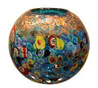"New 7"" Hand Blown Glass Art Vase Bowl Blue Italian Millefiori Multicolor"