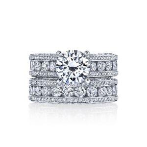 3.78ctw PLATINUM Designer Gregorio Engagement Semi Mount & Matching Wedding Band