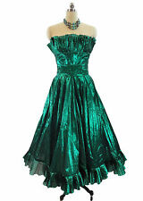 Vtg 70s Victor Costa Green Lame' Party Dress Ball Gown Maxi Strapless sz 8 USA