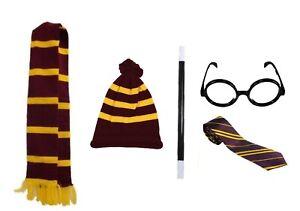 Book Week Harry Potter Unisex yellow Maroon Scarf Fancy Dress Hat Tie Outfit LOT