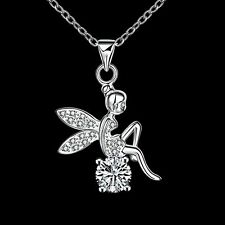 Cute Girls Silver Plated Tinkerbell Fairy Angel Crystal Wings Necklace Jewelry