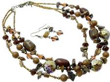 Three Strand Multi Brown Lucite And Shell Bead Ceramic Bead Necklace Earring