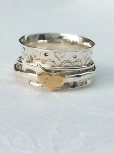 Ring Silver  Heart & Arrow Spinning Ring Size M (1386J)