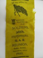 Civil War GAR Reunion Yellow Ribbon Circa 1900 Sedan Kansas Union Soldiers