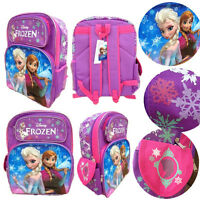 "Disney Frozen 16"" backpack purple Elsa and Anna rucksack school bag Girls"