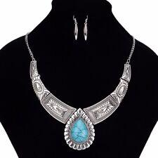 Women Bib Bohemian Vintage Stone Choker Chain Pendant Collar Statement Necklace