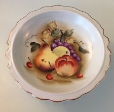 Vintage Lefton China Hand Painted Fruit Bowl Dish with Gold Gilt #6280