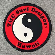 "T&C Town & Country Surf Designs Hawaii Sticker 6.5"" LARGE Authentic T&C Red"