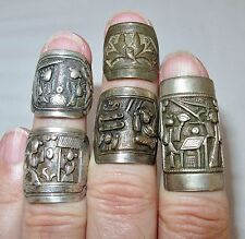 2 Antique Chinese Sterling ? Silver & 3 Metal Rings / Ring  (27.8g, Adjustable)