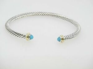 DAVID YURMAN 4MM CABLE CLASSIC  18K & STERLING SILVER TURQUOISE BRACELET - SMALL