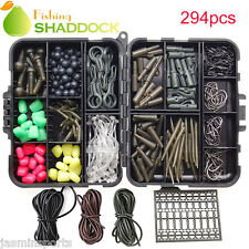 294pcs Carp Fishing Tackle Kit with Swivels/Hooks/Sleeves/Rubbers Tubes Set