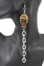 Women Earrings Fashion Jewelry Silver Metal Fringes Skull Beige Pirate Skeleton