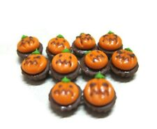 10 Miniatures Halloween Cupcakes with Pumpkin Dollhouse Miniatures Food Bakery