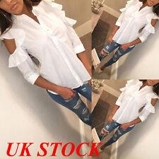 UK Women Ruffled Frill Off Shoulder Shirt Ladies Casual Long Sleeve Tops Blouse