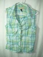 WOMENS BLUE LIME WHITE COTTON BLEND BIT & BRIDLE SLEEVELESS SHIRT TOP SIZE M 40