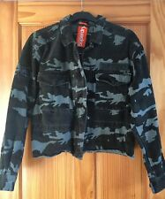 SUPERDRY WOMEN'S CAMOUFLAGE RILEY ROOKIE CROPPED GREEN JACKET SIZE 16 LARGE