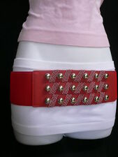 """NEW WOMEN HIP WAIST ELASTIC REAL RED WIDE FASHION BELT SILVER METALS 28""""-36"""" S M"""