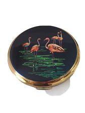 Vintage Stratton Enameled Flamingos Compact