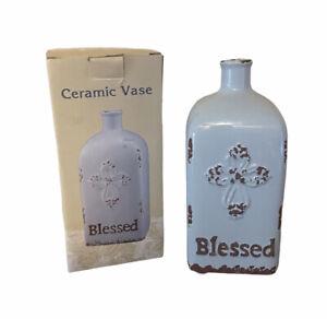 """Cracker Barrel Ceramic Vase  """"Blessed"""" Blue Rustic Cross Square"""