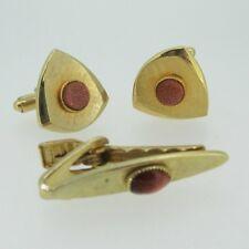 Gold Tone Brushed Triangular Shaped Goldstone Cufflinks Tie Bar