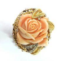 Antique Vintage Retro 18K Yellow Gold,Pink Alabaster stone Diamond Pin Brooches