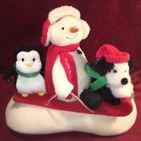 2007 Hallmark Jingle Pals Caroling Snowman Dog Sled Animated Musical Plush