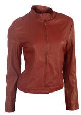 Ladies Red Biker Jacket UK Size 10 faux leather vintage look motorbike coat