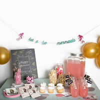 Glitter Let's be Mermaids Party Garland Banner Girl Birthday Party Decor