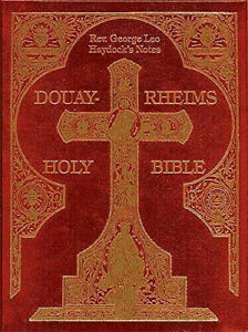 "Douay Rheims Haydock Catholic Bible Leather Burgundy 8.5"" x 11"" Reprint 1859"