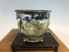 Blue And White Glazed Shohin Size Bonsai Tree Pot Fugushige Bushuan 4 5/8�