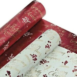 TOM SMITH Christmas Paper Luxury (2 x 4m) Gift Wrap Rolls RED & White BERRY W502