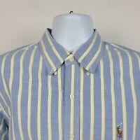 Ralph Lauren Blue Yellow White Oxford Striped Mens Dress Button Shirt Size Large